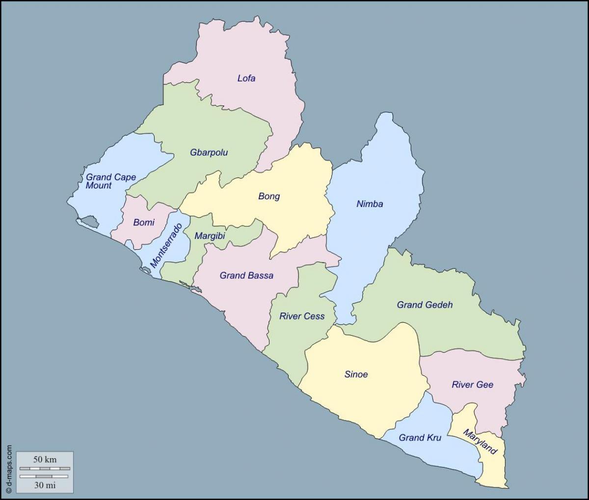 Kartta Liberian Maakunnat Kartta Liberian Laanissa Lansi